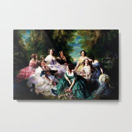 """Franz Xaver Winterhalter's masterpiece """"The Empress Eugenie surrounded by her Ladies in waiting"""" Metal Print"""