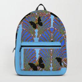 BLUE COLOR BLACK BUTTERFLY ART DECO PATTERNS Backpack