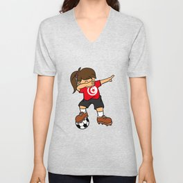 Tunisia Soccer Ball Dabbing Girl Tunisian Football Unisex V-Neck