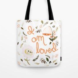 I Am Loved Botanical Print Tote Bag