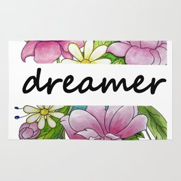 dreamer . flowers and the words . illustration Rug