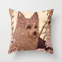 yorkie Throw Pillows featuring Yorkie by Angela Rizza