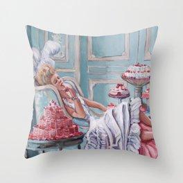 Marie Antoinette Eats Cake Throw Pillow