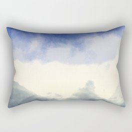 Abstract watercolor navy blue gray ivory ombre Rectangular Pillow