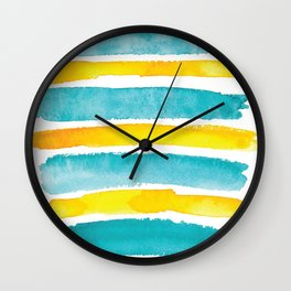 Watercolor yellow and turquoise stripes Wall Clock