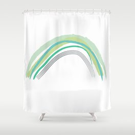 Green Rainbow Pattern Shower Curtain