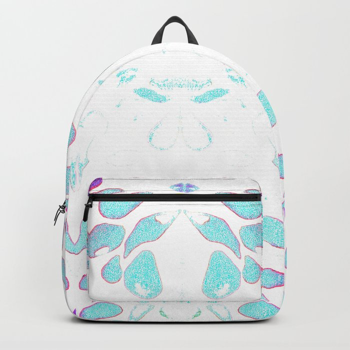 Summer Vibes, Blue and Purple Neon Leaves Backpack