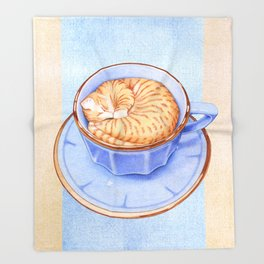 Cat in Coffee Throw Blanket