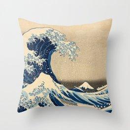 Under the Wave off Kanagawa, The Great Wave, 1830-1833 by Katsushika Hokusai Throw Pillow