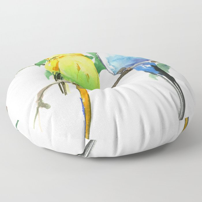 Budgies, Animal art, love, two birds bird artwork, bird pet Floor Pillow