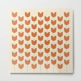 Red Tulip Pattern Metal Print