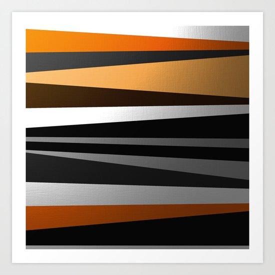 Metallic II - Abstract, geometric, metallic effect stripes, gold, silver, black Art Print