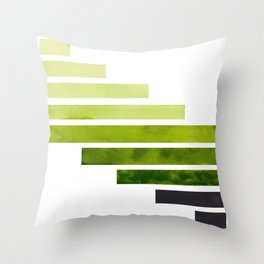 Green Minimalist Mid Century Modern Inca Watercolor Stripes Staggered Symmetrical Pattern Throw Pillow