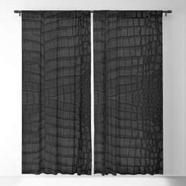 Black Crocodile Leather Print Blackout Curtain