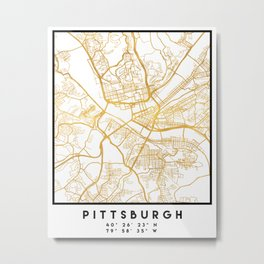 PITTSBURGH PENNSYLVANIA CITY STREET MAP ART Metal Print