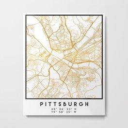 PITTSBURGH PENNSYLVANIA CITY STREET MAP ART Metal Print