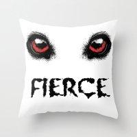 fierce Throw Pillows featuring Fierce by Nicolekay