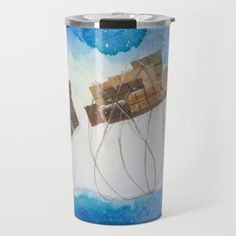 Big Polar Bear delivers gift packages like a Courier - Painting by Lisa Rotenberg Travel Mug