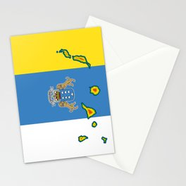 Canary Islands Flag with Map of the Canary Islands Islas Canarias Stationery Cards