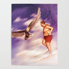 American Bold Eagle VS Summer Skier Poster