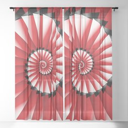 Abstract Spiral Sea Shell - Red, Black and White Sheer Curtain