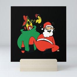 Drunk Santa Clause with Cuckoo Clock and Sack Mini Art Print
