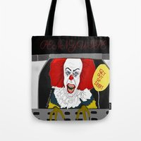 pennywise Tote Bags featuring Pennywise AKA The Clown by ItalianRicanArt