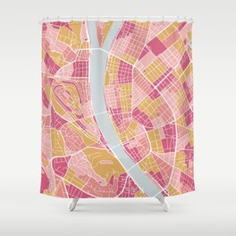 Pink Budapest map Shower Curtain