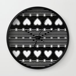 Black and white Heart Stripe Pattern Wall Clock