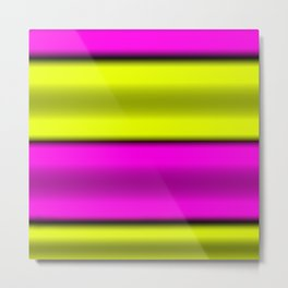 Pink & Yellow  Horizontal Stripes Metal Print