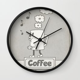 Vintage cartoon coffee drawing Wall Clock