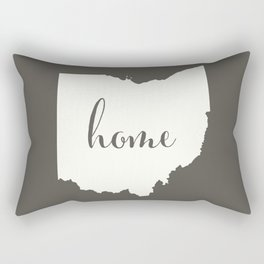 Ohio is Home - White on Charcoal Rectangular Pillow