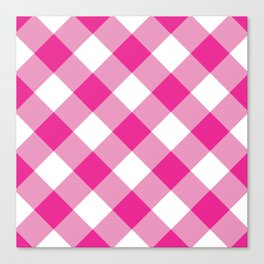 Gingham - Pink Canvas Print