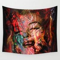 monroe Wall Tapestries featuring MARILYN MONROE by mark ashkenazi