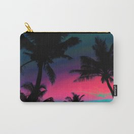 Deep Pink Palm Tree Sunset Carry-All Pouch