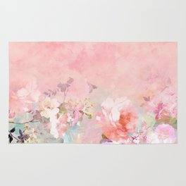 Modern blush watercolor ombre floral watercolor pattern Rug