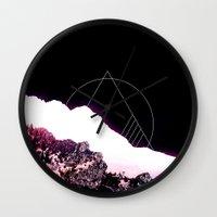 snowboarding Wall Clocks featuring Mountain Ride by Schwebewesen • Romina Lutz