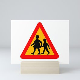 Children Crossing Traffic Sign Isolated Mini Art Print