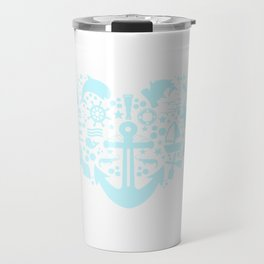 A Nice Heart Anchor Design For Sailors Marine Captain T-shirt Design Cruise Harbor Coast Guard Travel Mug
