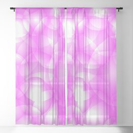 Gentle intersecting pink translucent circles in pastel colors with a crimson glow. Sheer Curtain