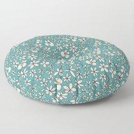 garland flowers blue Floor Pillow