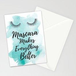 Mascara, makes everything better, Teal, Quote, Eyelashes, eyelash, makeup, make up, Stationery Cards