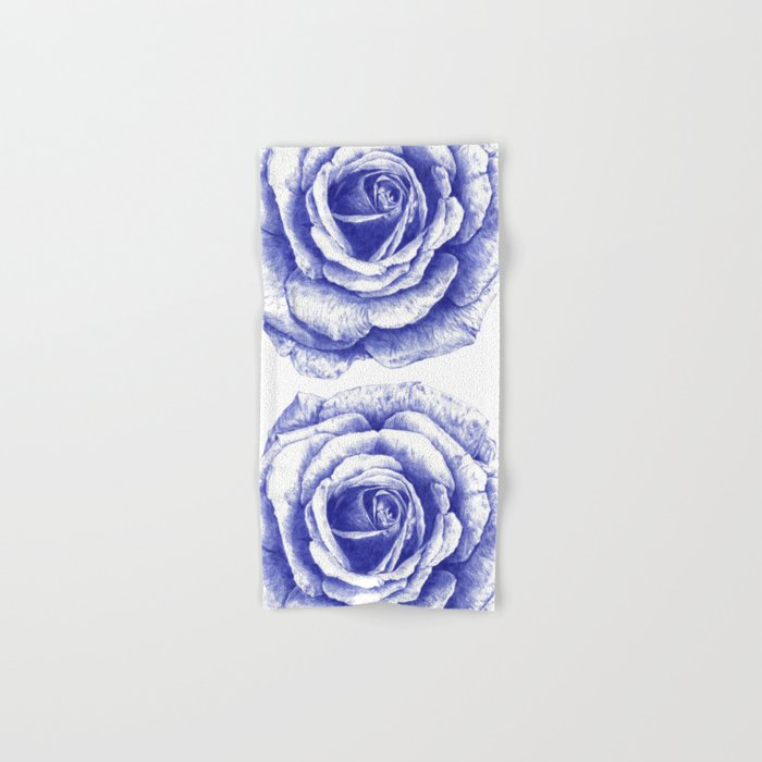 Ballpoint Blue Rose Hand & Bath Towel