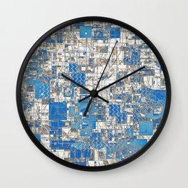 Multi Geometrical Pattern Faded Blues Wall Clock