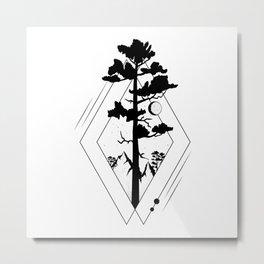 black white tree and moon art Metal Print