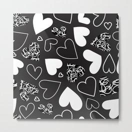 Black and White Monochrome Heart Pattern Metal Print