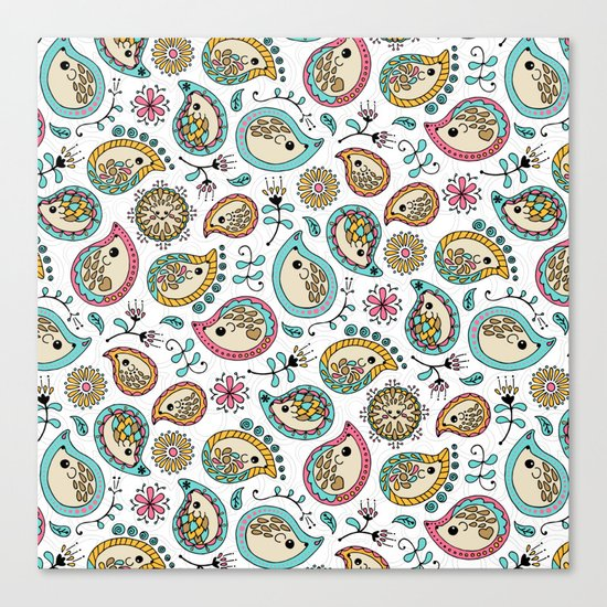Hedgehog Paisley_Colors and White Canvas Print