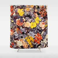 floral pattern Shower Curtains featuring Floral Pattern by Burcu Korkmazyurek