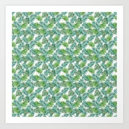 Palm Leaves Foliage Watercolor Green Pattern Tropical Exotic Art Print