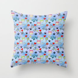 Cat Fitness Repeating Pattern Throw Pillow